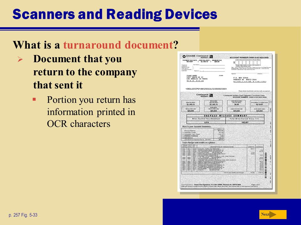 Scanners and Reading Devices What is a turnaround document.