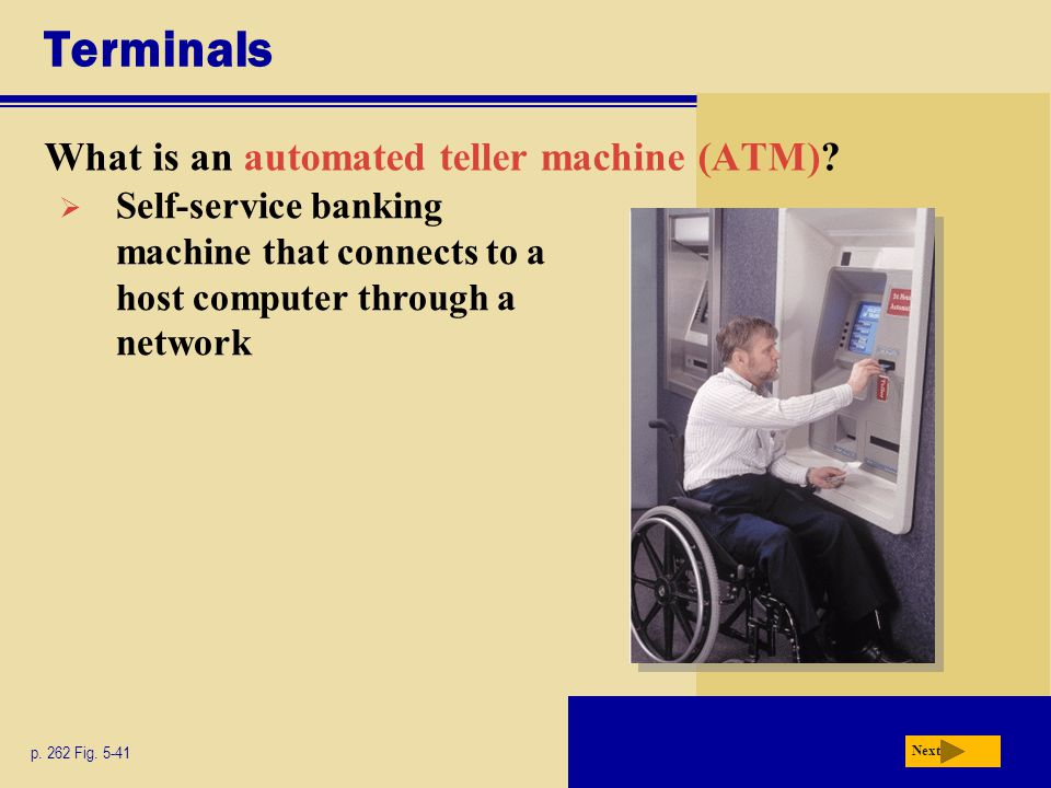 Terminals What is an automated teller machine (ATM).