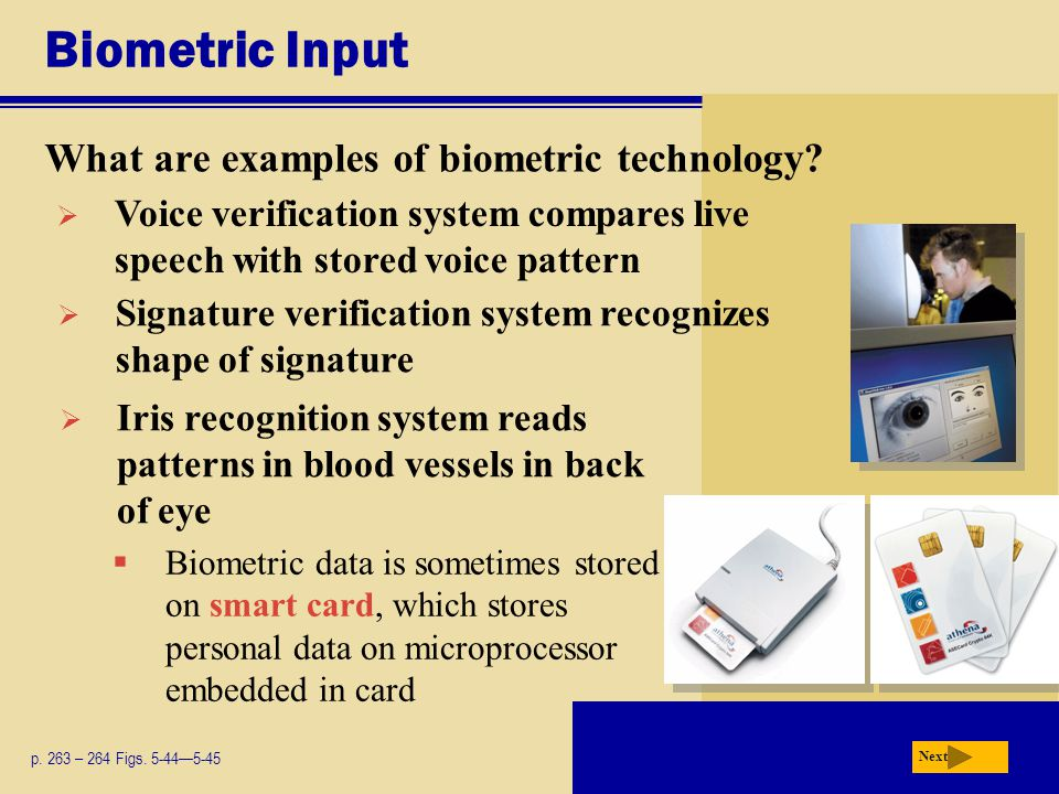 Biometric Input What are examples of biometric technology.