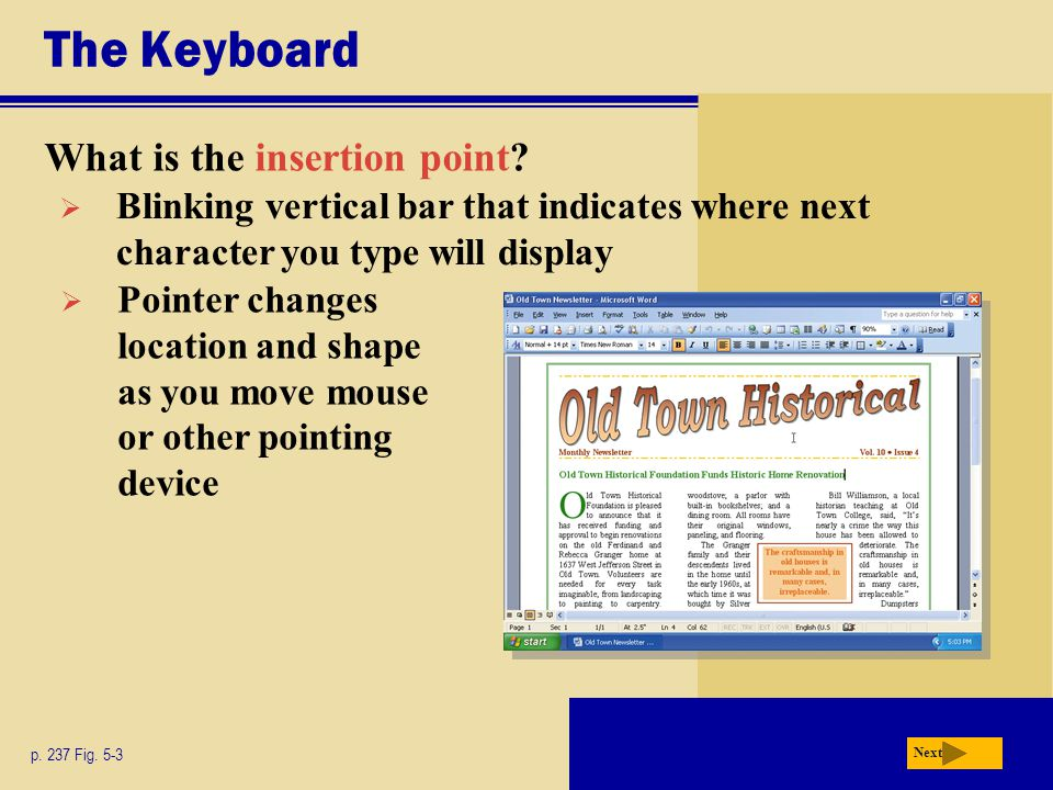The Keyboard What is the insertion point.p. 237 Fig.