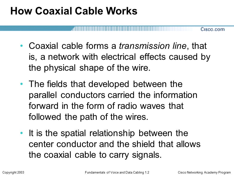 Cisco Networking Academy ProgramCopyright 2003Fundamentals of Voice and Data Cabling 1.2 How Coaxial Cable Works Coaxial cable forms a transmission line, that is, a network with electrical effects caused by the physical shape of the wire.
