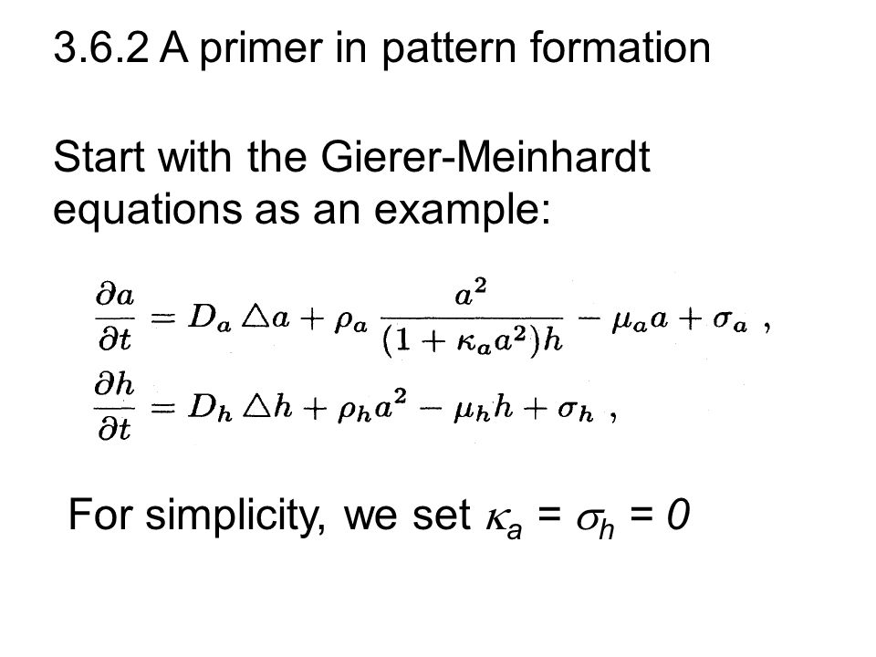3.6.2 A primer in pattern formation Start with the Gierer-Meinhardt equations as an example: For simplicity, we set  a =  h = 0