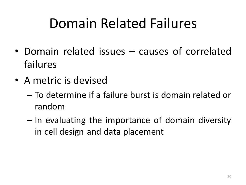 Domain Related Failures Domain related issues – causes of correlated failures A metric is devised – To determine if a failure burst is domain related