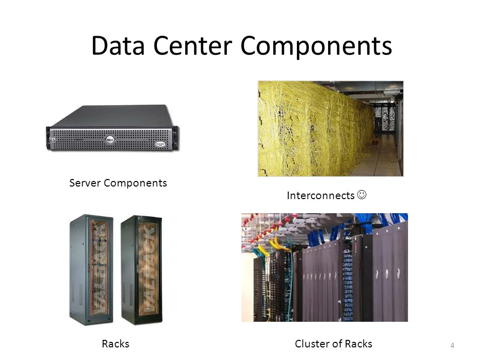 Data Center Components 4 Server Components Racks Interconnects Cluster of Racks