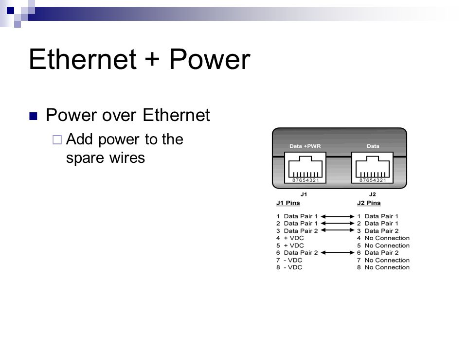 Ethernet + Power Power over Ethernet  Add power to the spare wires