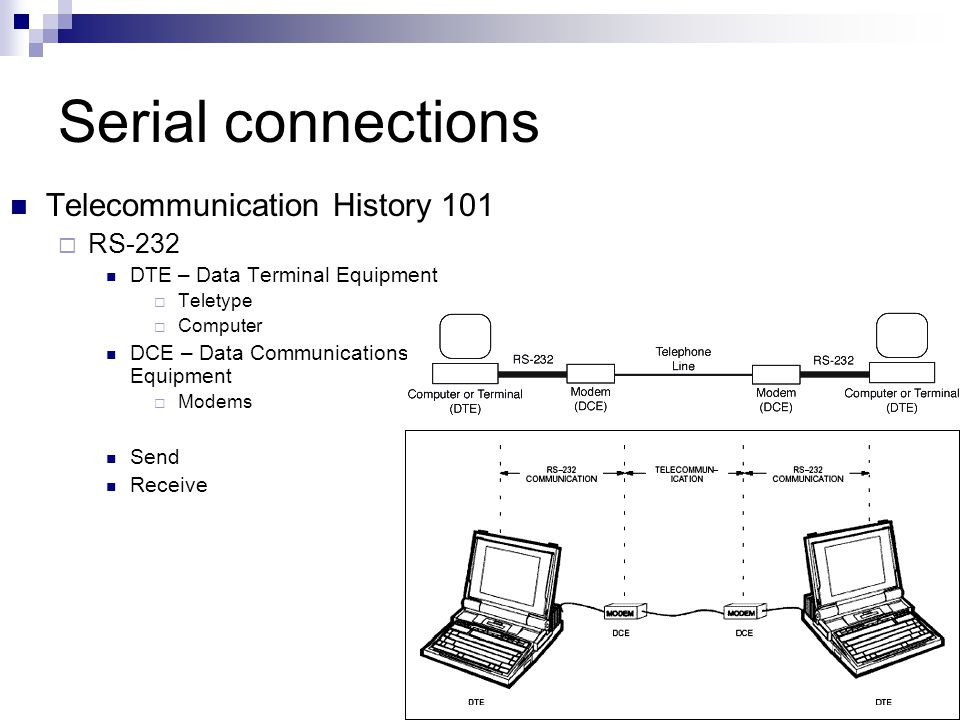 Serial connections Telecommunication History 101  RS-232 DTE – Data Terminal Equipment  Teletype  Computer DCE – Data Communications Equipment  Mo