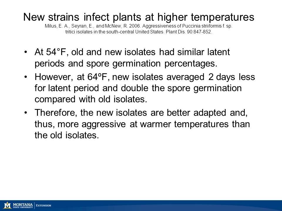 New strains infect plants at higher temperatures Milus, E. A., Seyran, E., and McNew, R. 2006. Aggressiveness of Puccinia striiformis f. sp. tritici i