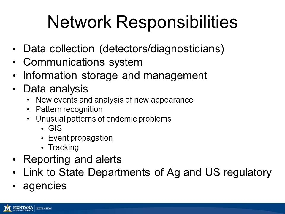 Network Responsibilities Data collection (detectors/diagnosticians) Communications system Information storage and management Data analysis New events