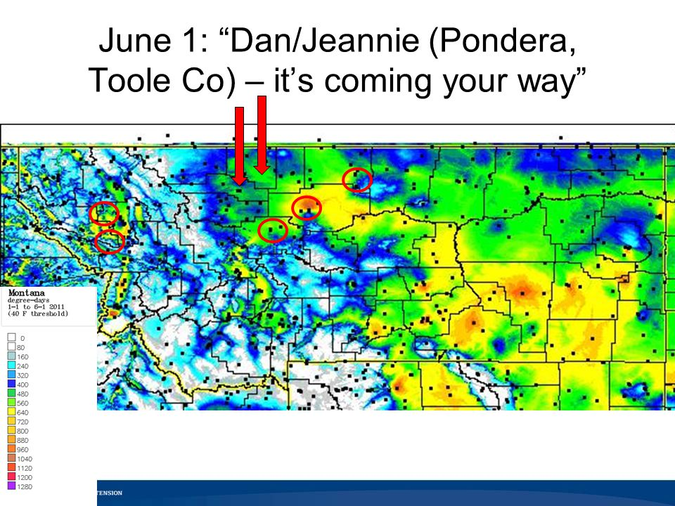 June 1: Dan/Jeannie (Pondera, Toole Co) – it's coming your way