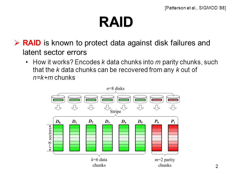 RAID  RAID is known to protect data against disk failures and latent sector errors How it works.