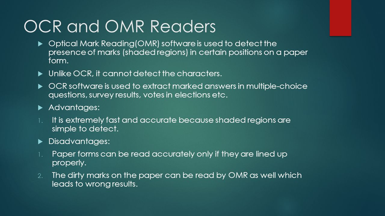 MICR (Magnetic Ink Character Recognition)  MICR software scans documents for numerals and symbols printed in magnetic ink.