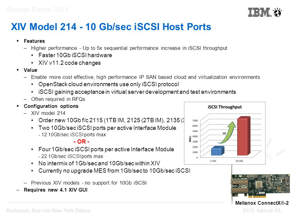  Features –Higher performance - Up to 5x sequential performance increase in iSCSI throughput Faster 10Gb iSCSI hardware XIV v11.2 code changes  Value –Enable more cost effective, high performance IP SAN based cloud and virtualization environments OpenStack cloud environments use only iSCSI protocol iSCSI gaining acceptance in virtual server development and test environments –Often required in RFQs  Configuration options –XIV model 214 Order new 10Gb f/c 2115 (1TB IM, 2125 (2TB IM), 2135 (3TB IM) Two 10Gb/sec iSCSI ports per active Interface Module - 12 10Gb/sec iSCSI ports max - OR - Four 1Gb/sec iSCSI ports per active Interface Module - 22 1Gb/sec iSCSI ports max No intermix of 1Gb/sec and 10Gb/sec within XIV Currently no upgrade MES from 1Gb/sec to 10Gb/sec iSCSI Natural for RPQ –Previous XIV models - no support for 10Gb iSCSI –Requires new 4.1 XIV GUI 10 XIV Model 214 - 10 Gb/sec iSCSI Host Ports Mellanox ConnectX®-2