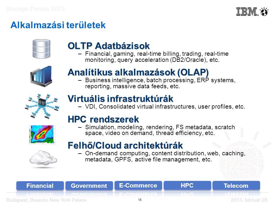 16 Alkalmazási területek OLTP Adatbázisok –Financial, gaming, real-time billing, trading, real-time monitoring, query acceleration (DB2/Oracle), etc.