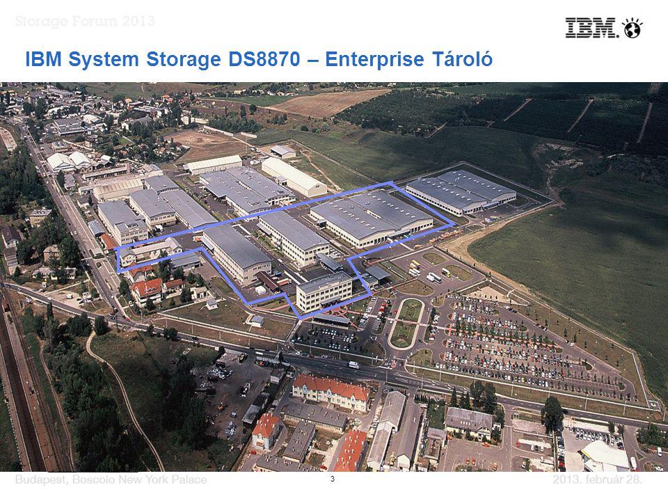 3 IBM System Storage DS8870 – Enterprise Tároló  IBM POWER7 alapú kontrollerek  2-16 Processzor Core vezérlőnként  Cache skálázódás 16 - 1024 GB -ig  Az Energy Star –nak megfelelő fogyasztás  Új dedikált Ultra SSD I/O Drawer  IBM POWER7 alapú kontrollerek  2-16 Processzor Core vezérlőnként  Cache skálázódás 16 - 1024 GB -ig  Az Energy Star –nak megfelelő fogyasztás  Új dedikált Ultra SSD I/O Drawer Több mint 17,000 rendszer világszerte!!