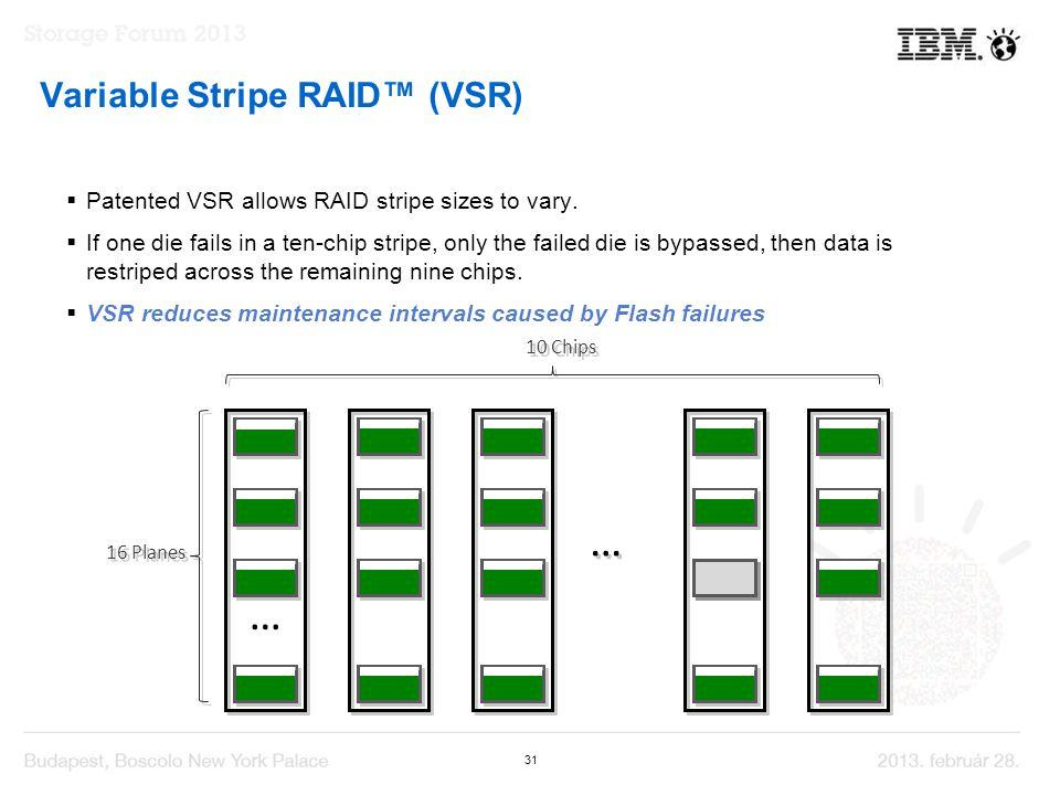 31 Variable Stripe RAID™ (VSR)  Patented VSR allows RAID stripe sizes to vary.