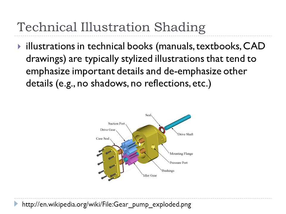 Technical Illustration Shading  illustrations in technical books (manuals, textbooks, CAD drawings) are typically stylized illustrations that tend to emphasize important details and de-emphasize other details (e.g., no shadows, no reflections, etc.) http://en.wikipedia.org/wiki/File:Gear_pump_exploded.png