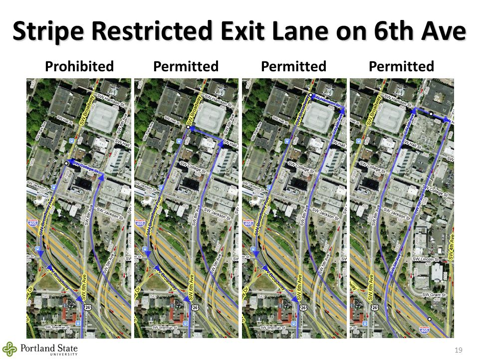 Stripe Restricted Exit Lane on 6th Ave 19 ProhibitedPermitted