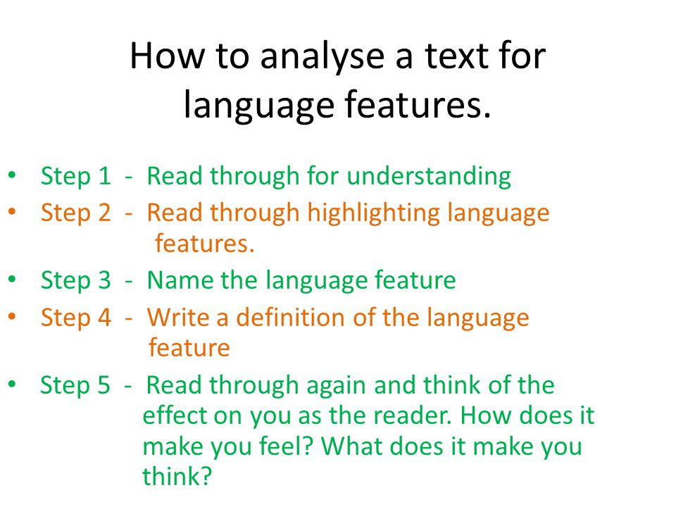 How to analyse a text for language features.