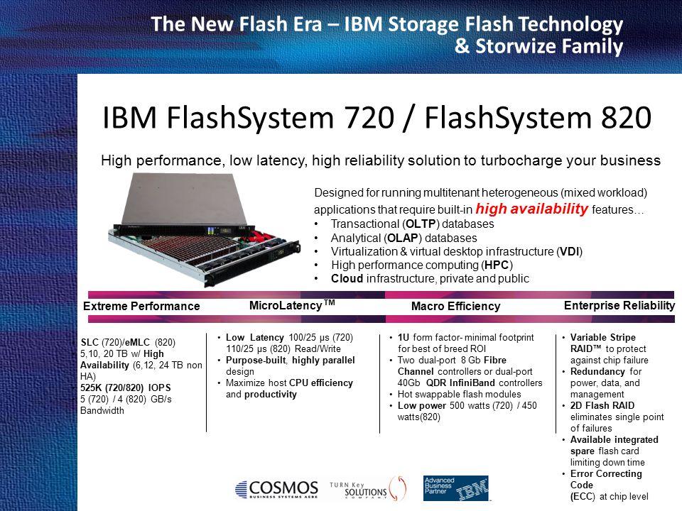 Cosmos Business Systems & IBM Hellas The New Flash Era – IBM Storage Flash Technology & Storwize Family IBM FlashSystem 720 / FlashSystem 820 High per
