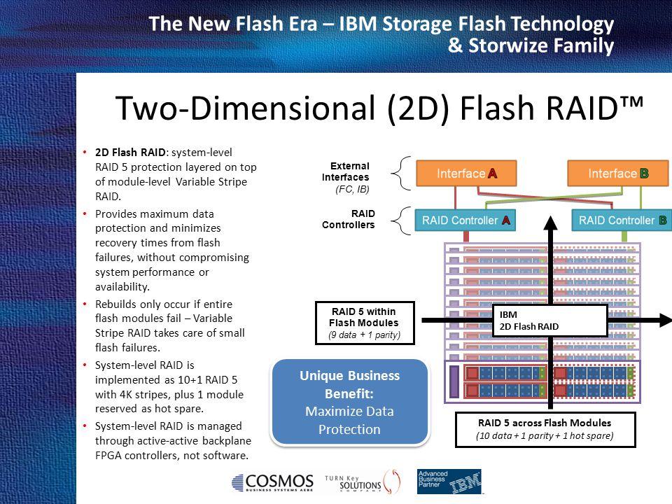 Cosmos Business Systems & IBM Hellas The New Flash Era – IBM Storage Flash Technology & Storwize Family 2D Flash RAID: system-level RAID 5 protection