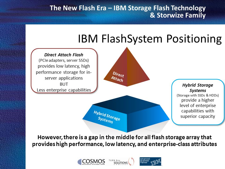 Cosmos Business Systems & IBM Hellas The New Flash Era – IBM Storage Flash Technology & Storwize Family However, there is a gap in the middle for all