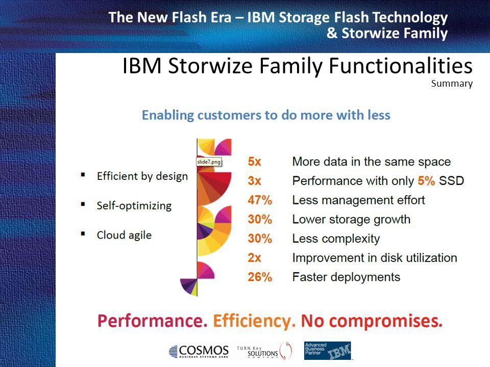 Cosmos Business Systems & IBM Hellas The New Flash Era – IBM Storage Flash Technology & Storwize Family IBM Storwize Family Functionalities Summary