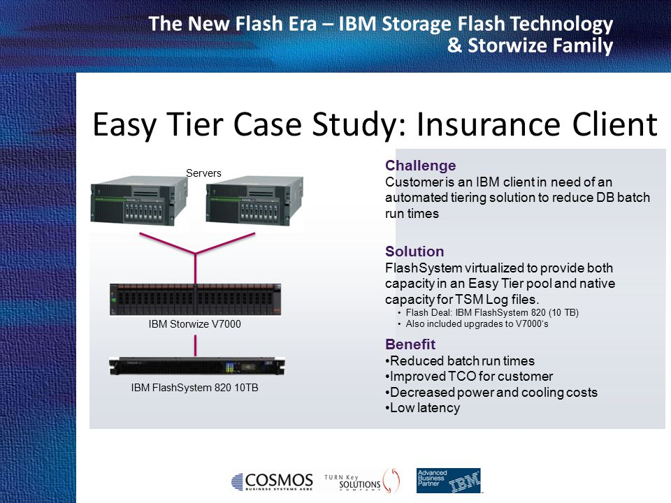 Cosmos Business Systems & IBM Hellas The New Flash Era – IBM Storage Flash Technology & Storwize Family Challenge Customer is an IBM client in need of