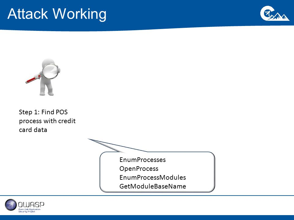 Attack Working Step 1: Find POS process with credit card data EnumProcesses OpenProcess EnumProcessModules GetModuleBaseName