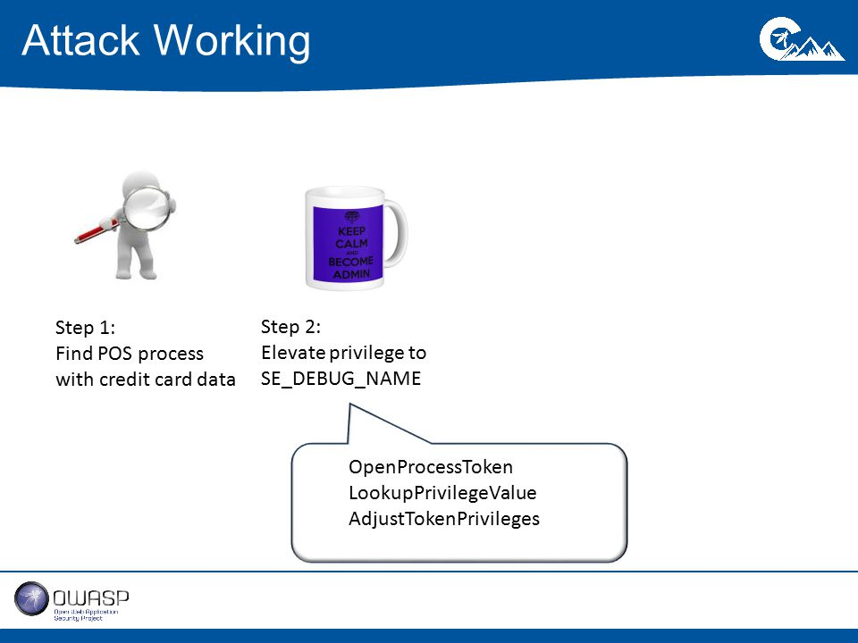 Attack Working Step 1: Find POS process with credit card data Step 2: Elevate privilege to SE_DEBUG_NAME OpenProcessToken LookupPrivilegeValue AdjustTokenPrivileges