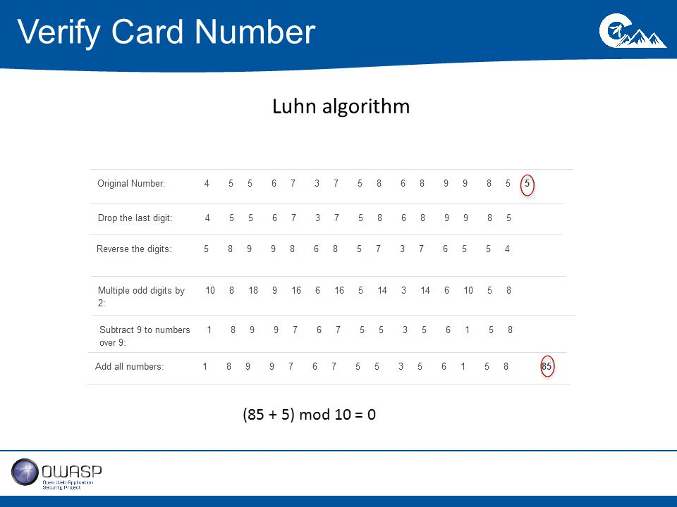 Verify Card Number (85 + 5) mod 10 = 0 Luhn algorithm