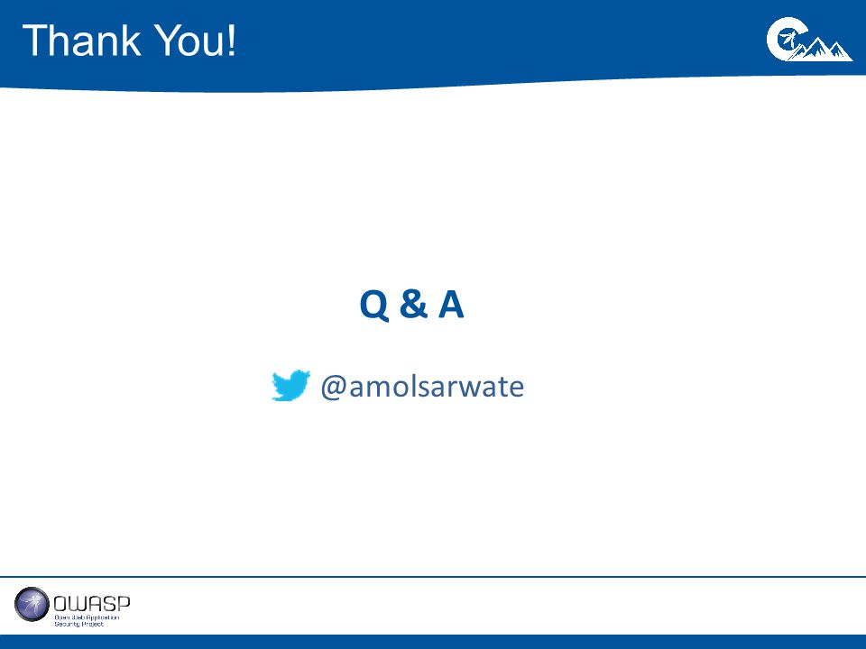 Q & A Thank You! @amolsarwate