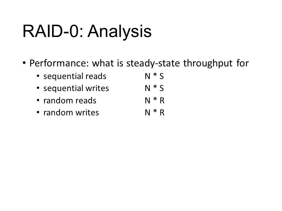 RAID-0: Analysis Performance: what is steady-state throughput for sequential reads sequential writes random reads random writes N * S N * R