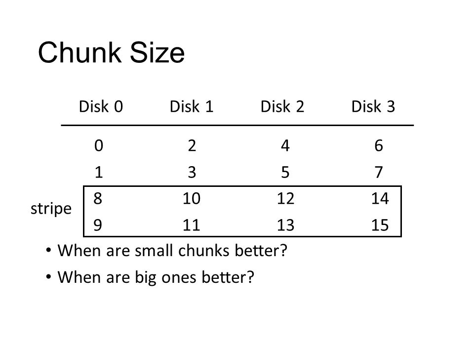 Chunk Size Disk 0 Disk 1 Disk 2 Disk 3 0 2 4 6 1 3 5 7 8 10 12 14 9 11 13 15 stripe When are small chunks better.