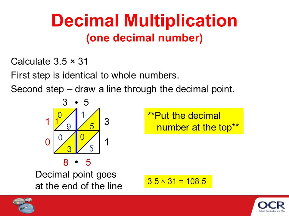 Calculate 3.5 × 31 First step is identical to whole numbers. Second step – draw a line through the decimal point. 1 5 Decimal Multiplication (one deci