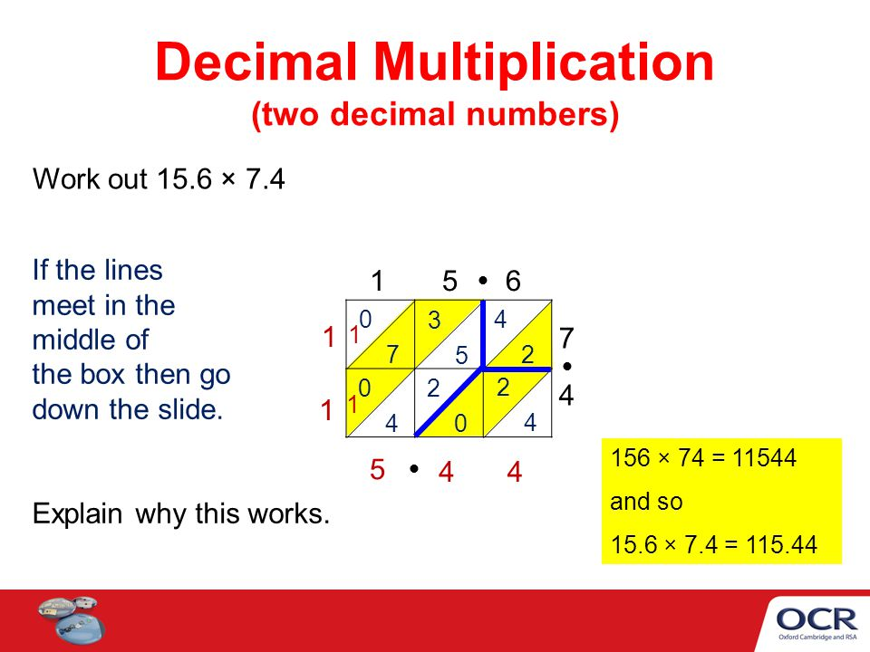 Decimal Multiplication (two decimal numbers) Work out 15.6 × 7.4 1 5 6 7474 0 7 3 5 4 2 0 4 2 0 2 4 1 1 44 5 1 156 × 74 = 11544 and so 15.6 × 7.4 = 11