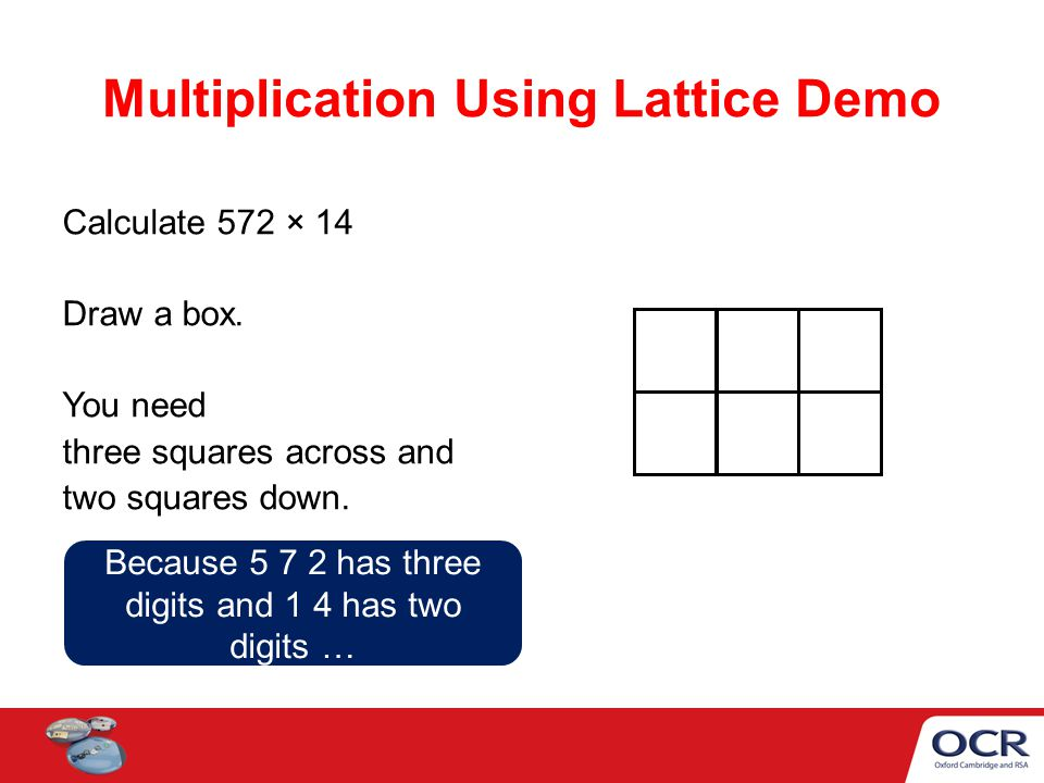 Multiplication Using Lattice Demo Calculate 572 × 14 Draw a box.