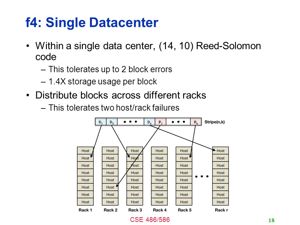 CSE 486/586 f4: Single Datacenter Within a single data center, (14, 10) Reed-Solomon code –This tolerates up to 2 block errors –1.4X storage usage per block Distribute blocks across different racks –This tolerates two host/rack failures 18