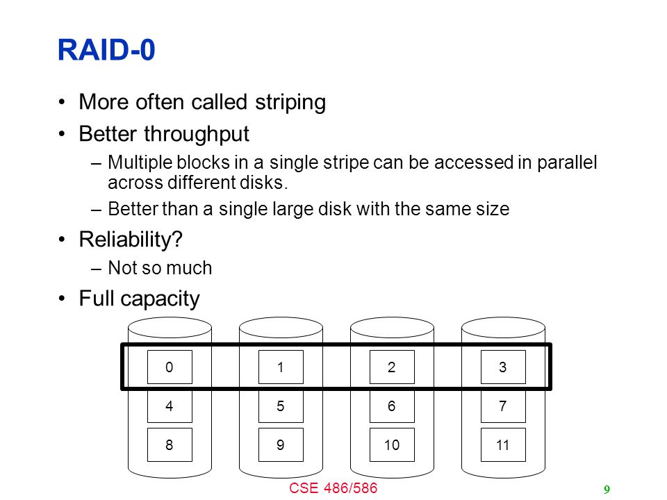 CSE 486/586 RAID-0 More often called striping Better throughput –Multiple blocks in a single stripe can be accessed in parallel across different disks.