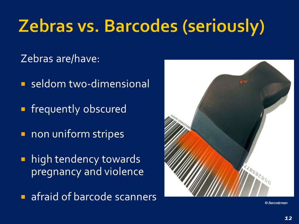12 Zebras are/have:  seldom two-dimensional  frequently obscured  non uniform stripes  high tendency towards pregnancy and violence  afraid of barcode scanners © Barcodeman