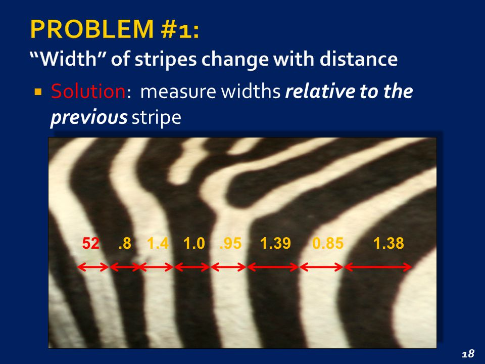 18  Solution: measure widths relative to the previous stripe 52.81.41.0.951.390.851.38