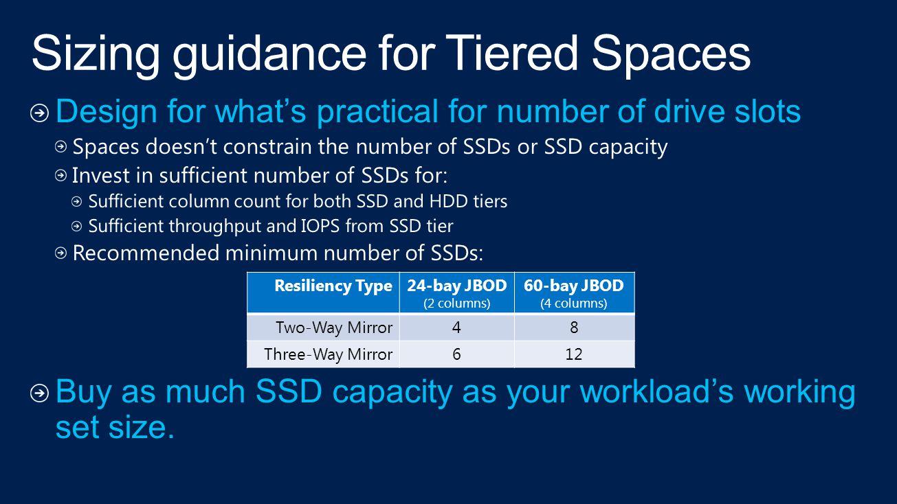 Resiliency Type24-bay JBOD (2 columns) 60-bay JBOD (4 columns) Two-Way Mirror48 Three-Way Mirror612