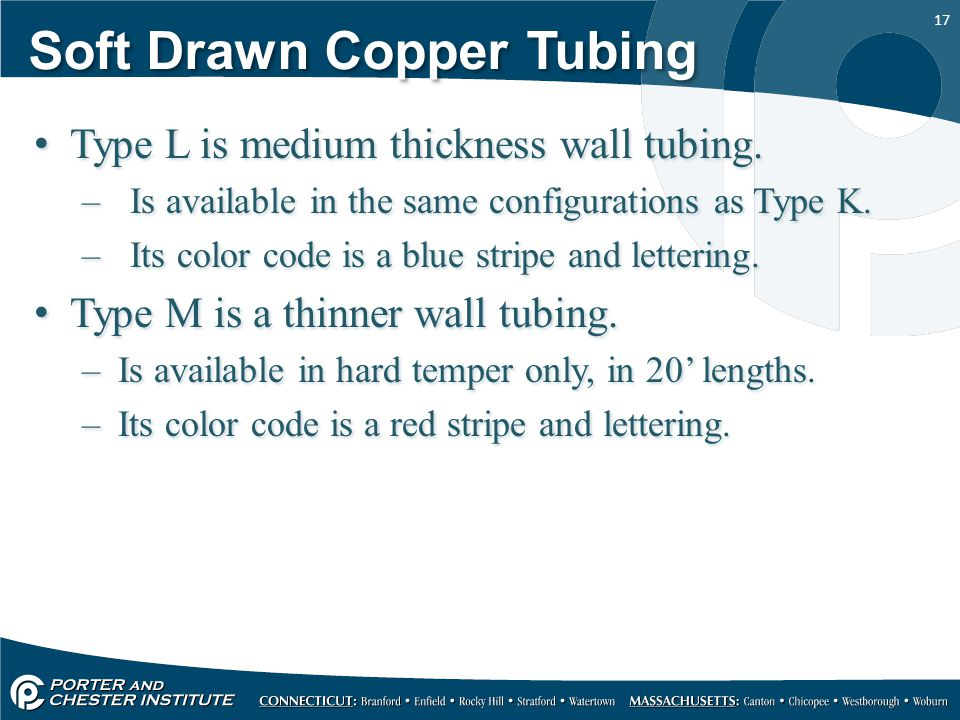 17 Soft Drawn Copper Tubing Type L is medium thickness wall tubing.