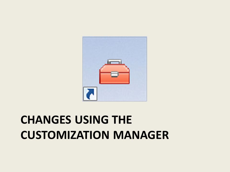 CHANGES USING THE CUSTOMIZATION MANAGER
