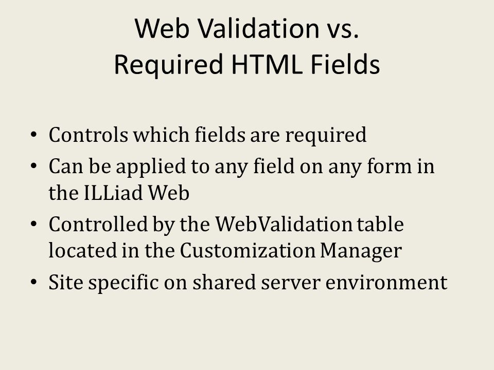 Web Validation vs.