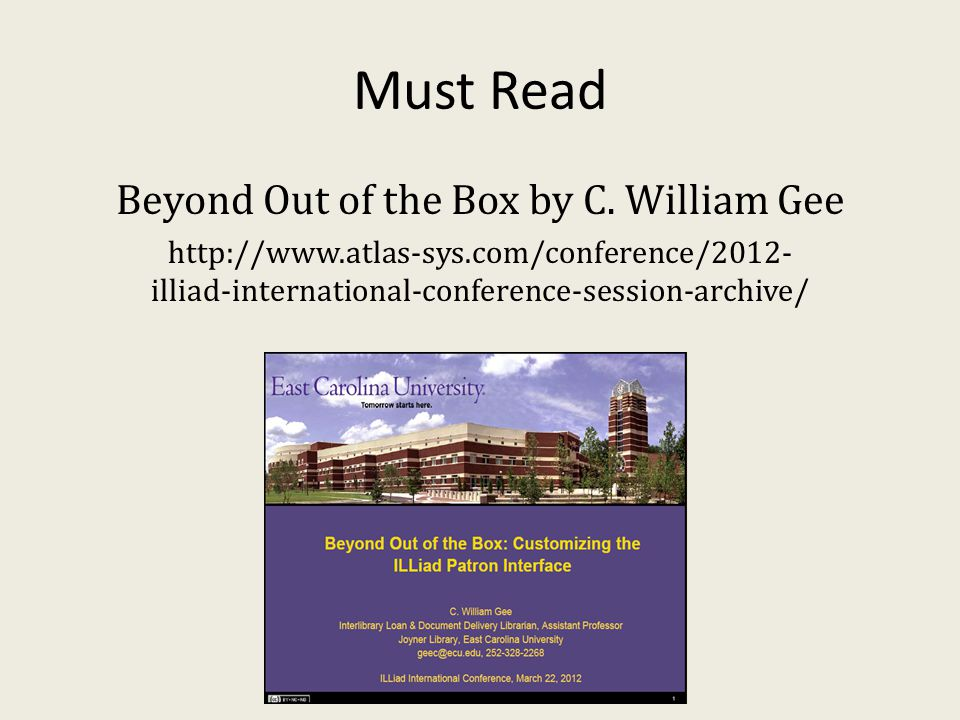 Must Read Beyond Out of the Box by C.