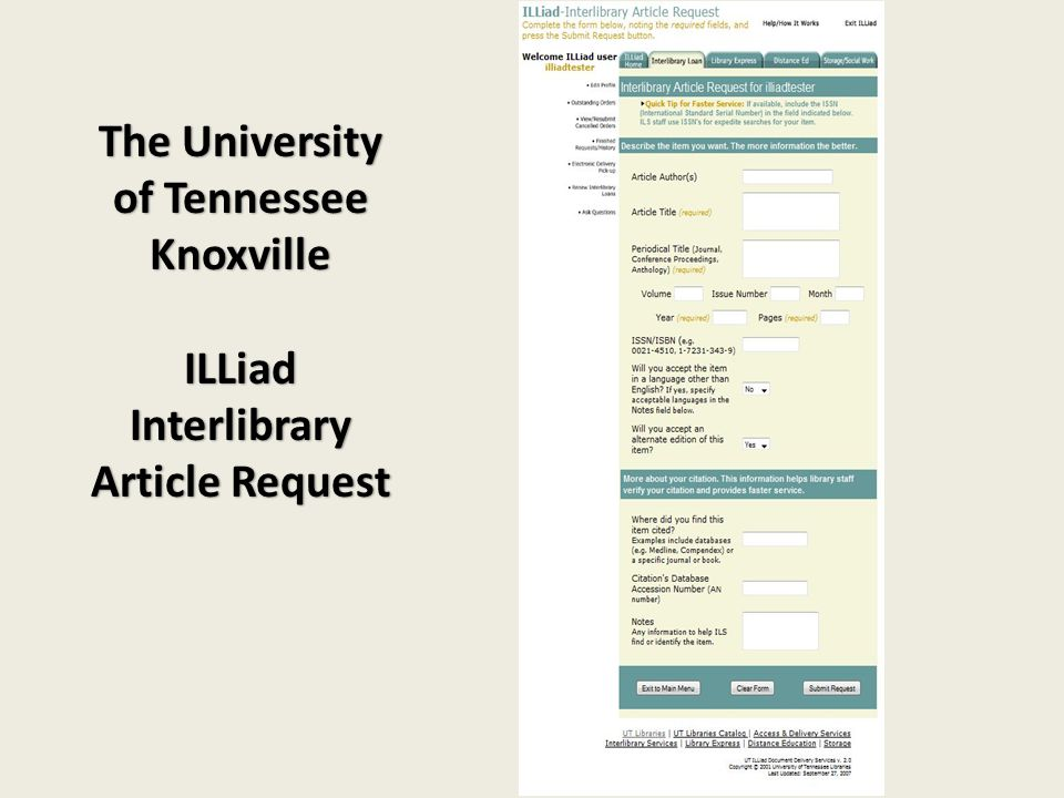 The University of Tennessee KnoxvilleILLiad Interlibrary Article Request