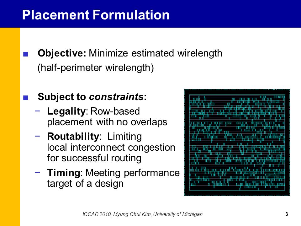 Next illustration: Tug-of-war between low-wirelength and legalized placements 14ICCAD 2010, Myung-Chul Kim, University of Michigan