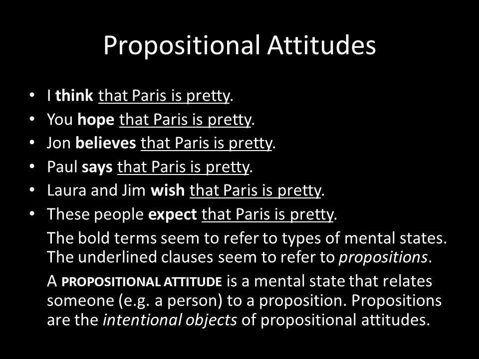 Propositional Attitudes I think that Paris is pretty.