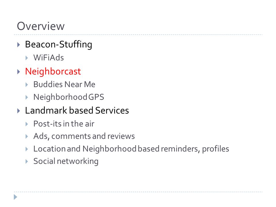 Overview  Beacon-Stuffing  WiFiAds  Neighborcast  Buddies Near Me  Neighborhood GPS  Landmark based Services  Post-its in the air  Ads, comments and reviews  Location and Neighborhood based reminders, profiles  Social networking