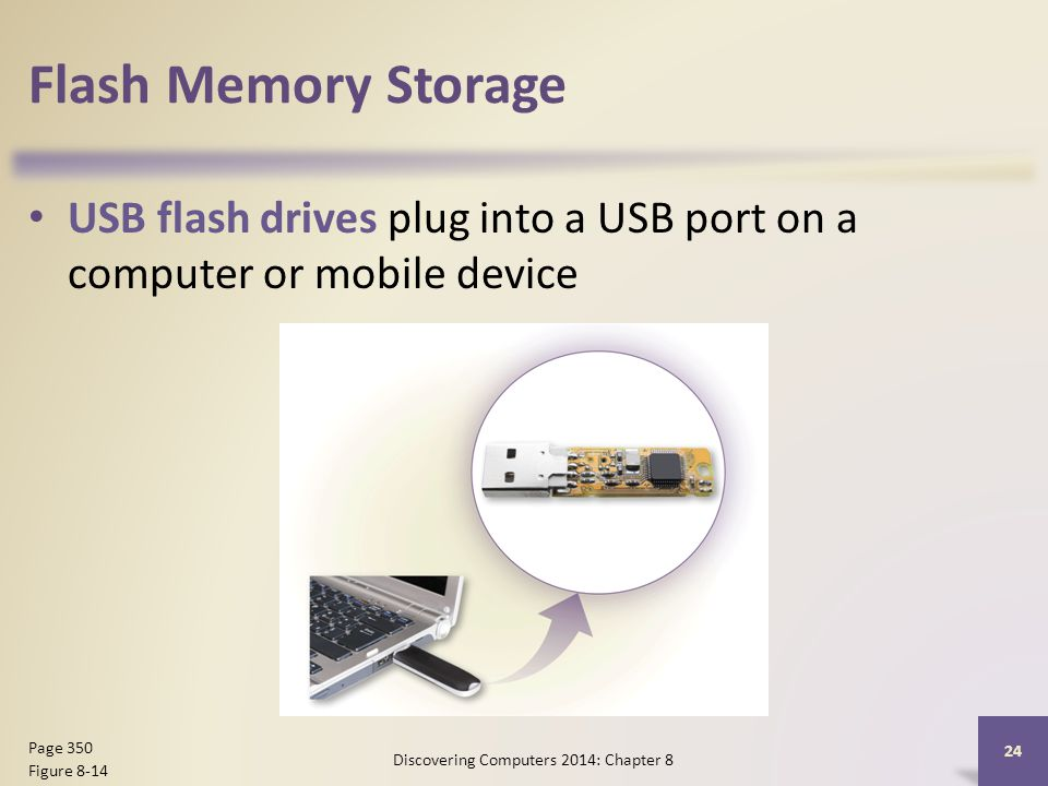 Flash Memory Storage USB flash drives plug into a USB port on a computer or mobile device Discovering Computers 2014: Chapter 8 24 Page 350 Figure 8-1